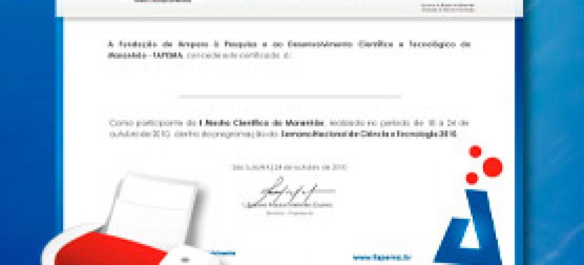 Certificados da SNCT e da IV Mostra Científica estão disponíveis no Portal da Fapema