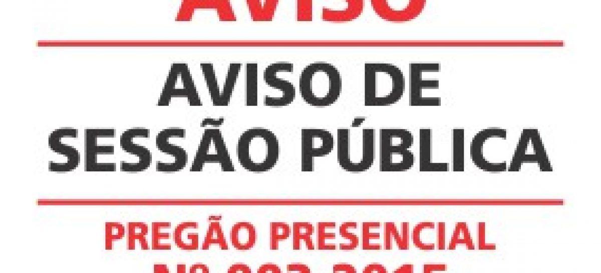 Aviso de Sessão Pública